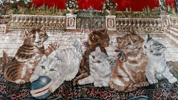 Selyem, plüss mokett faliszőnyeg, falvédő, ágytakaró, cica, macska jelenetes (óriás méretű)