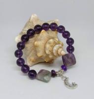 Valódi ametiszt ásvány és lila kristály gyöngy karkötő