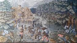 Szövött, szőttes faliszőnyeg, falvédő, falikárpit, Hófehérke és a hét törpe jelenetes (nagy méretű)
