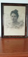 Antik női ceruza portré 1920-as évek