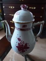 Herendi Apponyi (pourpre) mintás, antik, aranyozott, kézzel festett, porcelán kávéskanna