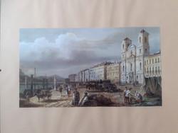 Fametszet nyomat  Utcakép az 1800-as évekből. 50x40 cm.
