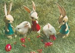 """Retro képeslap, húsvéti üdvözlet """"igazi"""" és játék nyuszikkal"""