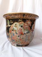 Kínai porcelán kaspó, XX.szd második fele, matricás dekorral.