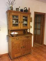 Ónémet (népi) vintage fenyőfa tálaló szekrény, kredenc, konyhaszekrény