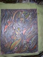 Balázs János aláírással 62 x 50 cm frostlemezre húzott vászon, olajkép, keret nélkül