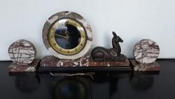 Elegáns antik francia Art deco márvány kandalló óra, működik