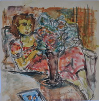 Czóbel Béla (1883-1976): Fiatal lány virágcsokorral