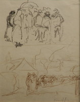 Kunffy Lajos: Piaci emberek, tehenek terelése, ceruzarajz