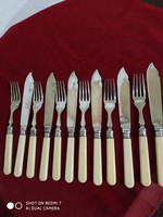 Ezüst gyűrűs, ezüstözött fejű halas evőeszköz készlet (csont nyéllel)