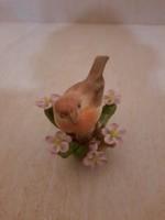 Herendi madár virágos faágon porcelán figura Hibátlan!