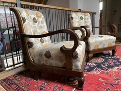 Art deco / Biedermeier felújított fotel pár, párban