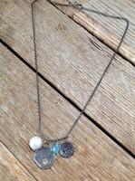 Kézműves izraeli ezüst nyaklánc opál kővel akvamarinnal és nagy igazgyönggyel