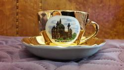 Aranyozott látképes porcelán kávés csésze + tányér