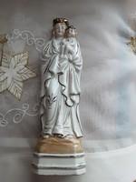 Antik, 1920 as évekből, 20 cm es, kézzel festett porcelán Mária gyermekével szobor