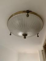 Csiszolt búrájú gyönyörű mennyezeti lámpa, XX.sz. eleje, réz testtel. Sérülésmentes, kíváló állapot