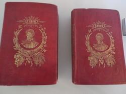 Könyv -1861 ÉVI - 2 kötet - BYRON - Német 7 - 9 kötet - 10 - 12 kötet egyben - 14 x 9,5 cm