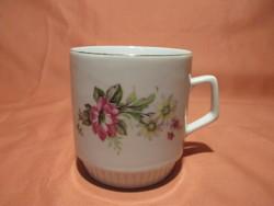 Zsolnay bögre virágokkal, csésze