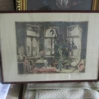 Interieur kép üvegezett keretben 40 x 50 cm Szignozott szitanyomat