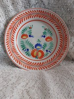 Hollóházi kézzel festett fali tányér, fali dísz, dísztányér 24 cm