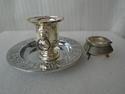 3 db álló aukció 1 kis kalamáris lehet ezüst? 1 nehéz kis bakhusfejes jégtartó és 1 db tálca