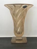 Antik muranói váza jègvirág mintával és arany fénnyel