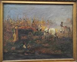 Nagyon szép aratàs festmény,Àcs Àgoston ,Neogràdy,Ott Zoltán hangulat stílusban de