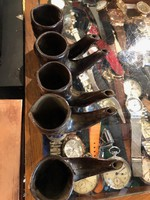 5 db kerámia pipa, vagy pohár, 10 cm-es nagyságúak, lakberendezéshez.