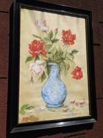 Antik jelzett akvarell  virágcsendélet