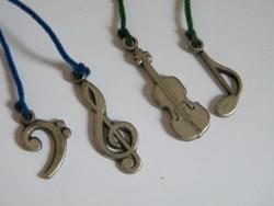 Chlada design ón öntvény kis függeszthető díszek (violinkulcs, hangjegy...)