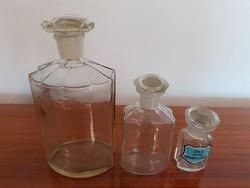 Régi vintage 3 db patikaüveg gyógyszertári csiszolt üveg dugós palack patikai üveg