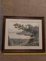 Kovács Ernő: Dunakanyar, festmény, 27x42, akvarell, cím jel., katalogizálva..