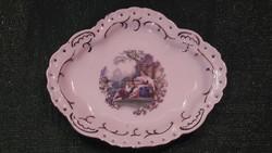 Jelenetes porcelán tálka, kis tányér
