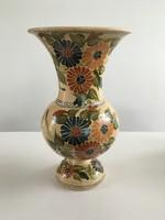 Régi nagyméretű korondi mázas, kézzel festett váza