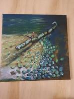 Madárka faágon a vízparton