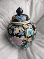 21 cm keleti stílusú porcelán gyömbéres edény, fedeles tartó,  váza, chinese style ginger jar, vase
