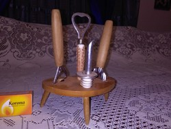 Retro asztali italbontó készlet tartóban - sörnyitó, stb...