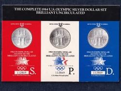 USA 1984 Olimpia 3 darabos 1 dollár .900 ezüst szett 3 különböző verdéből 1984 S P (id45036)