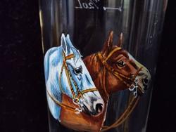 Antik, szecessziós fújt üveg söröspohár aprólékos kézi zománcfestett lovakkal