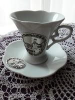 Eredeti Monacoi porcelán kávés szett, kávéscsésze aljjal, ezüst díszítéssel