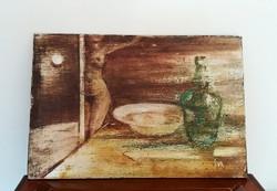 Festmény csendélet olajfestmény farostra jelzett 30 cm