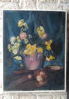 Gyönyörű asztali Viràg  Csendélet vàsznon festmény. Kàplàr Éva szignó .