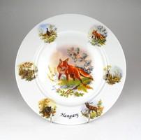 1D153 Régi nagyméretű rókás porcelán vadásztányér falitál 26.5 cm