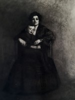 KERNSTOCK KÁROLY: Anya és gyermeke (nyomat 21x28) kettős portré arckép szülői szeretet, fekete-fehér
