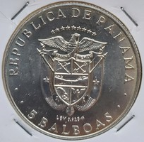 Gyönyörű panamai 5 balboa - 925 ezüst - 35 ,7 g súly