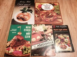 5 db régi szakácskönyv