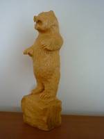 Fa, faragás. Medve sziklán (24 cm) Woodcarving. Bear on a rock (Height:24 cm)