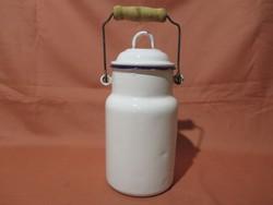 Régi Budafoki zománcozott (zománcos) 1 literes tejes kanna