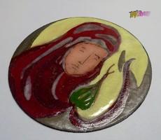 Madonna, tűzzománc festmény kör alakú réz lemezen. Kortárs műtárgy hibátlan állapotban.