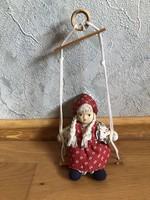 Antik, régi porcelán fejű hintázó lány, baba 8.